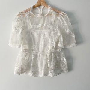 White lace peplum blouse